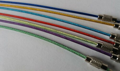Steel Rope With Screw Locking Key Chain Coated Colourful Plastic 7 colours 18 cm