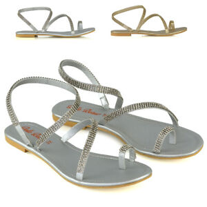 Womens-Flat-Strappy-Sandals-Diamante-Ladies-Toe-Post-Holiday-Summer-Shoes-Size