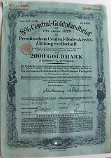 German bond 8% Central Gold Mortgage - Pfandbrief 1929. Due 6/1929 Gold Marks