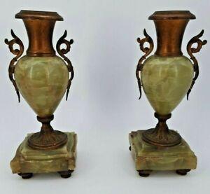 Paire de pot en onyx et bronze, époque Napoléon III