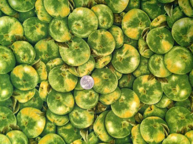 GREEN APPLES Apple Fruit Food Jar Novelty Quilt Fabric Last Fat Quarter FQ