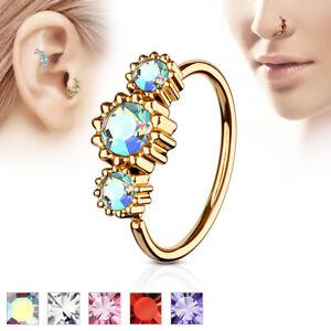 727fc7513 Rose Gold IP CZ Ear Helix Tragus Rook Snug Daith Hoop Nose Ring ...