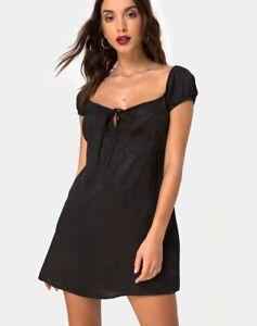 MOTEL-ROCKS-Gaval-Mini-Dress-in-Satin-Cheetah-Black-XS-mr19
