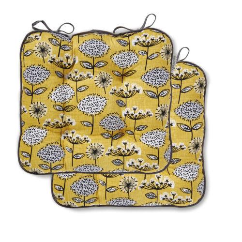 Dekokissen Cooksmart Set Of 2 Retro Meadow Seat Pads Dining Chair Pillow Floral Yellow Grey Mobel Wohnen