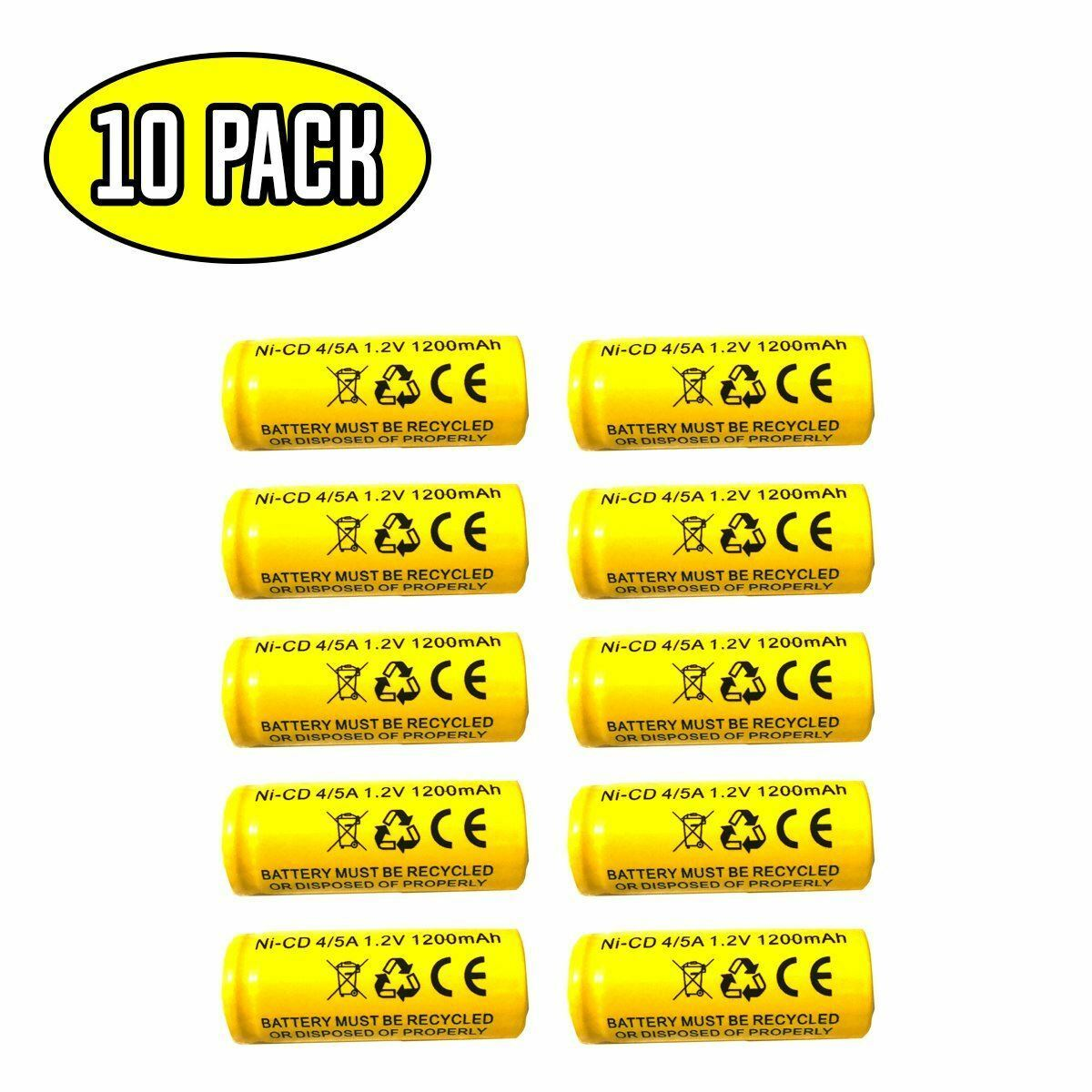 (10 pack) 1.2v 1200mAh Ni-CD Battery Replacement for Emergency / Exit Light