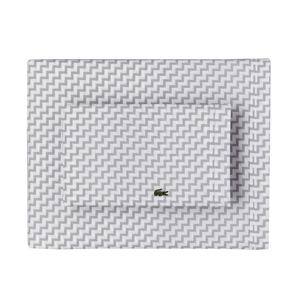 4Pc Applique LACOSTE Med grau Weiß CHEVRON STRIPES Cotton Queen Sheet Set NIP