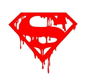 Dripping melting bloody superman symbol vinyl decal car Getting stickers off glass