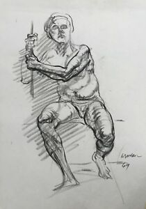 Harry-Carmean-life-drawing-of-seated-male-model-1969