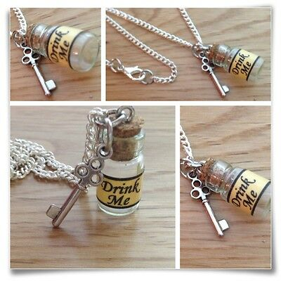 Alice in Wonderland mini drink me bottle & key necklace