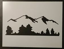 "Mountains Mountain Trees Tree Line 11"" x 8.5"" Custom Stencil FAST FREE SHIPPING"