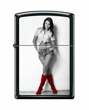 """Zippo """"Red Shoes-Sexy Cowgirl"""" Lighter, Black Matte, 6467"""