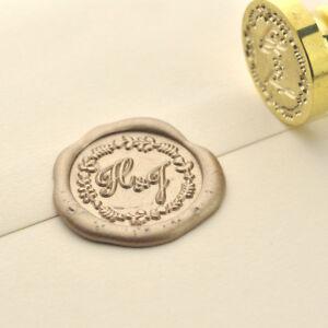 Personalized Wreath Circle Initias Wax Seal Stamp Custom Wedding Invitation 012