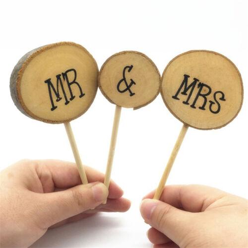 Wood Mr /& Mrs Shabby Chic Vintage Wedding Engagement Cake Topper Pick 3//Set Nice