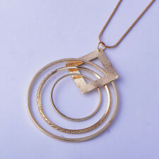 Classic Womens Yellow Gold plated Circle Square Chain Pendant and Necklace