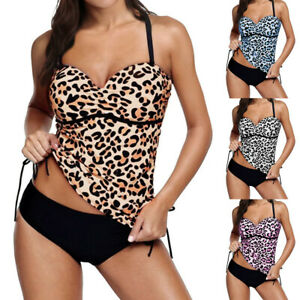 5bba3bb53bae8 Image is loading Womens-Two-Piece-Tankini-Bikini-Sets-Halterneck-Swimsuit-