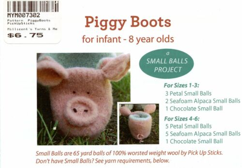 Piggy Boots Baby // Child NB Pick Up Sticks Knitting Pattern 8yrs ADorable!