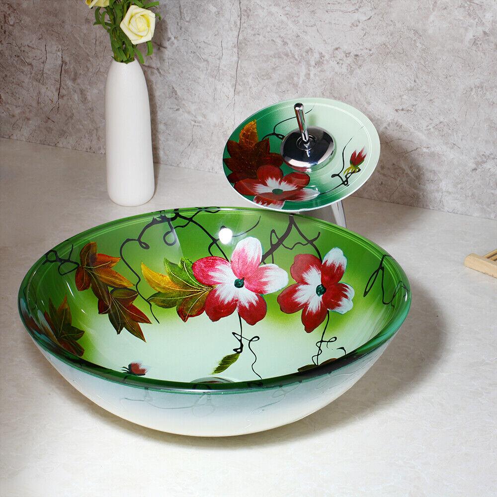 Royaume-Uni Rond Fleur Peinture Salle de bains en verre trempé bassin évier & Brass Mélangeur Robinet
