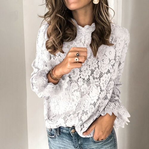 Women Bell Sleeve Casual Lace Crochet Shirt Tops Hollow Out Ladies Tops Blouse