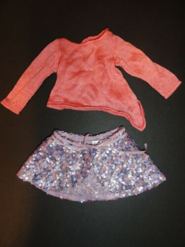American Girl Isabelle Palmer Purple Sequin Dance Skirt & coral sweater
