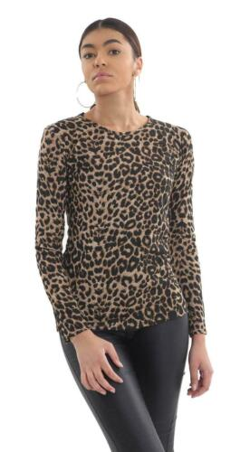 Women Ladies Animal Leopard Print Long Sleeve Stretch Casual Party T Shirt Top