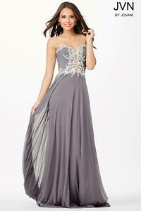 10bef84c4c Image is loading JOVANI-Gray-Chiffon-Embellished-Bodice-Strapless-Formal- Gown-