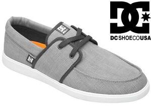 Dc-Shoes-Para-Hombre-Hampton-formadores-Gris-Blanco-GRW-Skate-Vans-Canvas-plimsolls-Nuevo