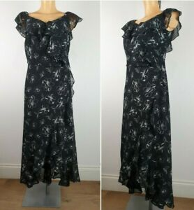 NEW-Ex-Evans-Floral-Print-Maxi-Dress-BLACK-Summer-Holiday-Dress-Size-14-26