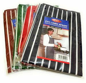 1 x PVC Lined Apron 100% Cotton Stripe Butcher Chefs Aprons Professional & Home