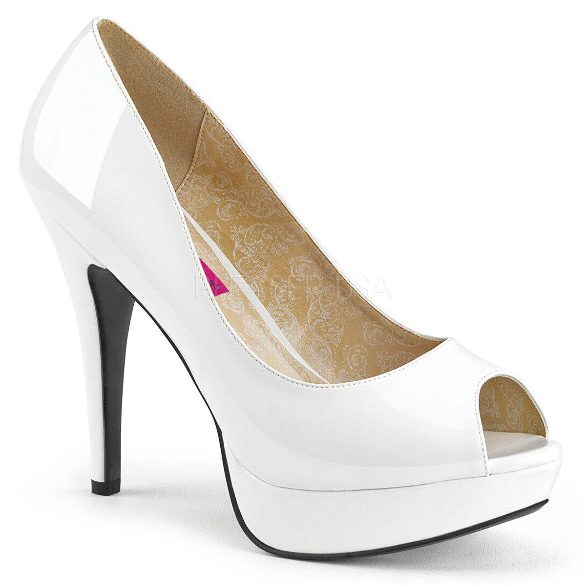 Pleaser CHLOE-01 Womens Sexy Peep Toe White Patent Concealed Platform High Heel