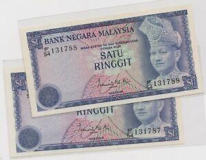 Mazuma *M1250 Malaysia 3rd $1 F/54 131787-788 2 Running GEF