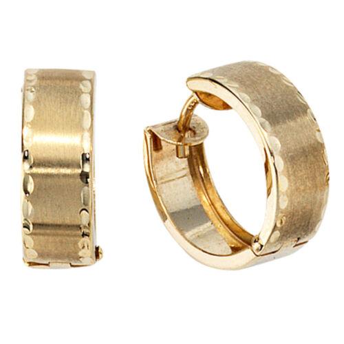 14.5mm Par creolen creole pendientes 333 oro dorado teilmattiert señora