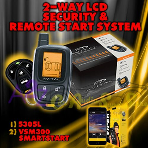 AVITAL 5305L REPLACE 5303 2 WAY REMOTE START CAR ALARM SECURITY DBALL2 VSM300