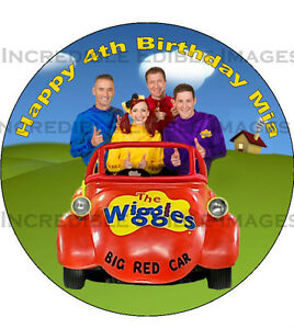 wiggles big red car coloring page - 19cm round wiggles big red car edible icing cake toppers