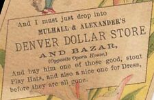 1880s DENVER DOLLAR STORE & BAZAR OLD VICTORIAN TRADE CARD BY OPERA HOUSE TC1787