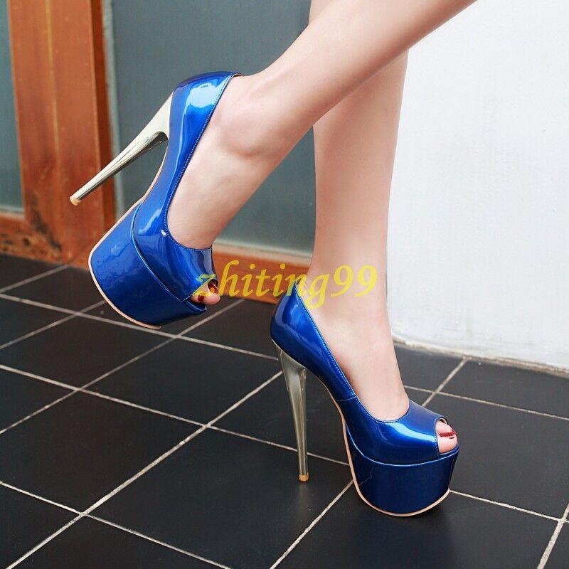 Chaussures Femme Talons Aiguilles Plateforme Super Talon Haut Escarpins Bout Ouvert Sandales Chaussures Nightclub