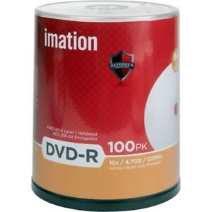 Imation-DVD-r-4-7-GB-16-x-blanco-eje-termico-imprimible-100-Pack-Cake-Box
