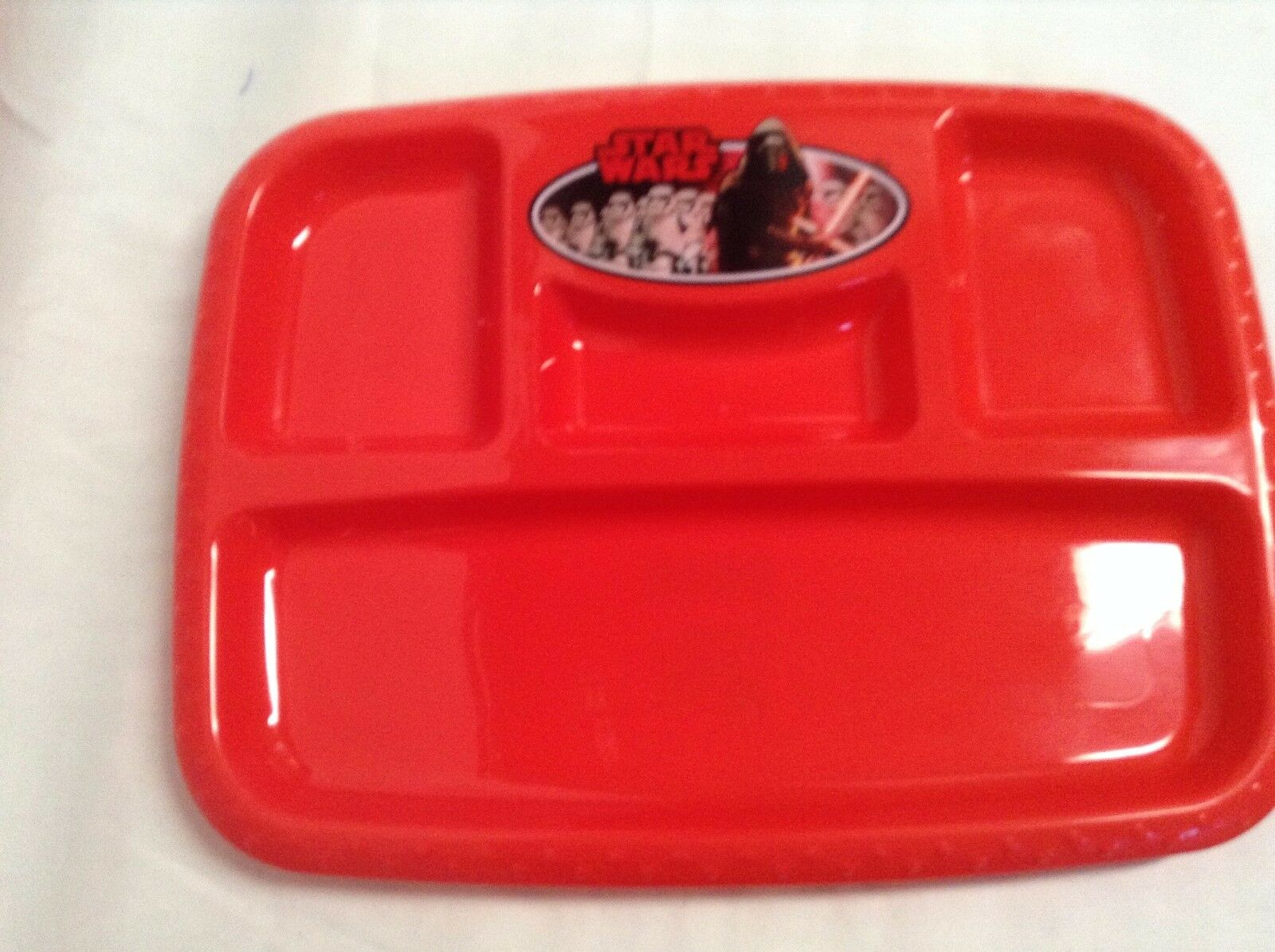 """NEW Hard Plastic Disney Star Wars Divided Tray Plate 11 x 8.5/"""" Red"""