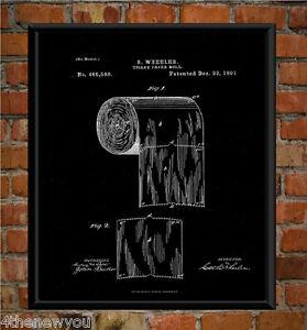 Toilet Paper Roll Chalkboard Patent Drawing Wall Art