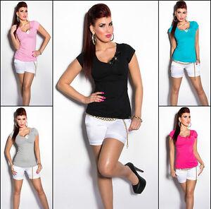 Nuevo-Sexy-KOUCLA-Camiseta-rutina-punta-fina-Camiseta-Verano-Manga-Corta-7058