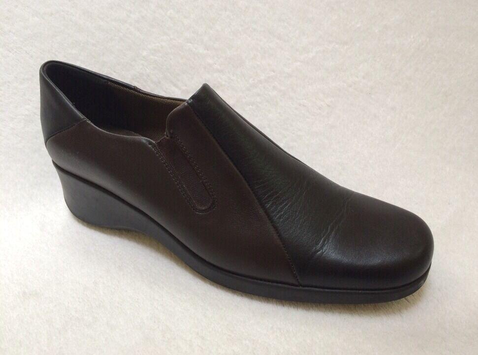 Aquatalia Marvin K Sz 9 Ladies Brown & Black Leather Slip On Wedge  Worn 1 X