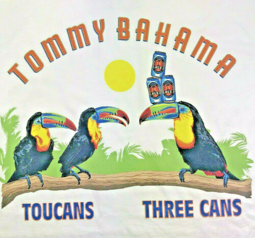"""Cotton Authentic Tommy Bahama /""""TOUCANS THREE CANS/"""" Men/'s White NWT Reg $49"""