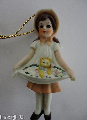 1987 Jan Hagara LE DAPHNE Figurine ORNAMENT Girl w/ Kitten & Flowers In Dress!