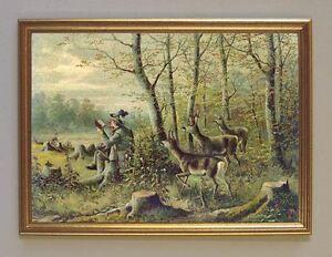 Rotwild zur Brunftzeit Jagdbild Hirsch Reh Gebirge Wilderer A3 479