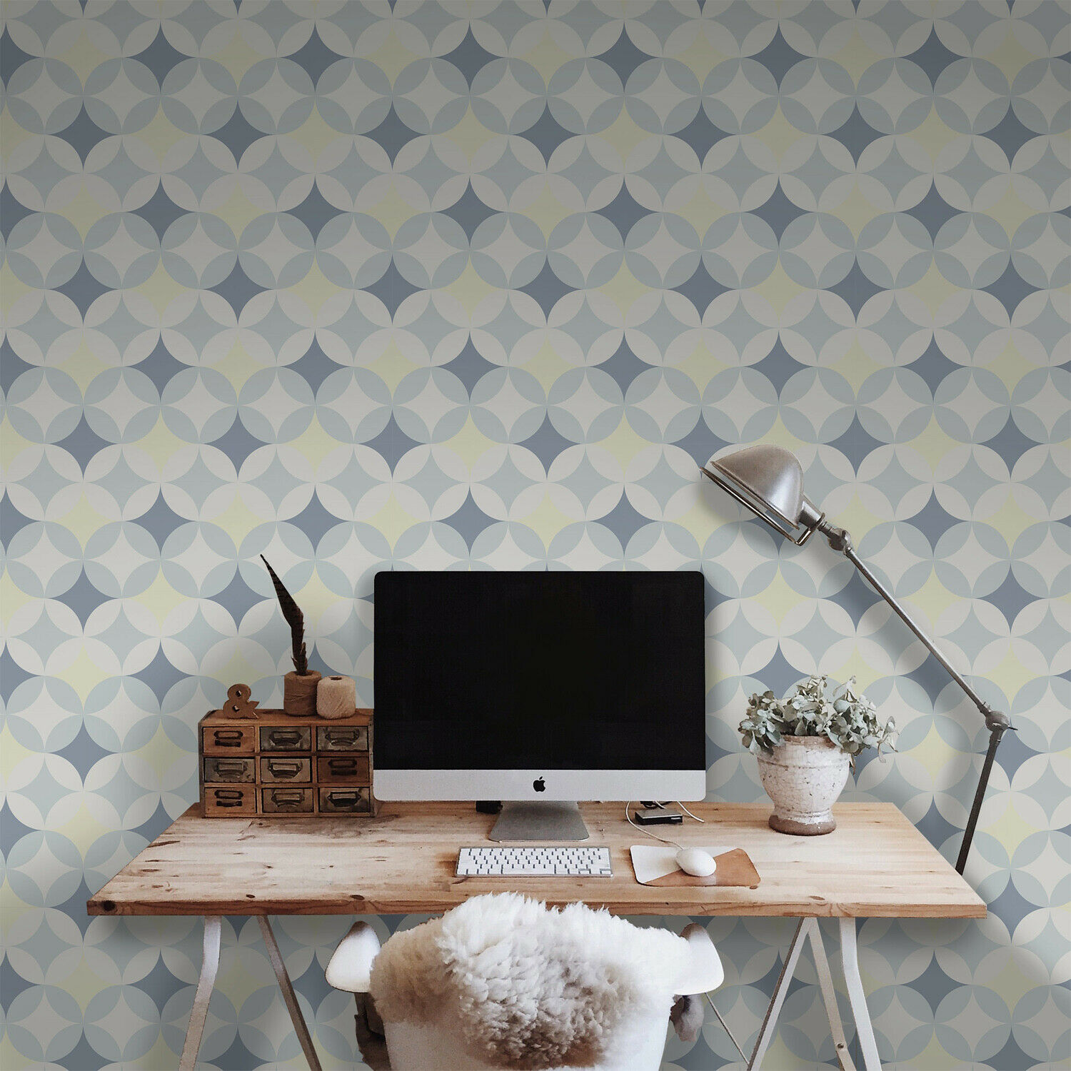 Abstract retro geometric Removable wallpaper Blau and Weiß wall mural non woven