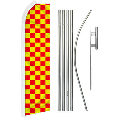 Four 4 Pack Swooper Flags /& Pole Kits Red White Race Check Checkered Flag