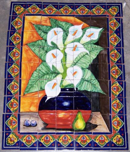 # 16 Mexican Talavera Mosaic Mural Tile Handmade Calla lilies Backsplash