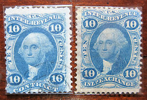 Set of 2x US R34c & R36c 10c Inland Exchange & 10c Contract Revenue Stamps Rare