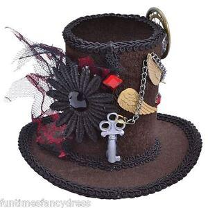 Steam-Punk-Victorian-Burlesque-Brown-Velour-Mini-Top-Hat-Clip-On-Fancy-Dress