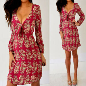 American-Eagle-Outfitters-Red-Beige-Pink-Floral-Crinkle-Dress-XS-Extra-Small