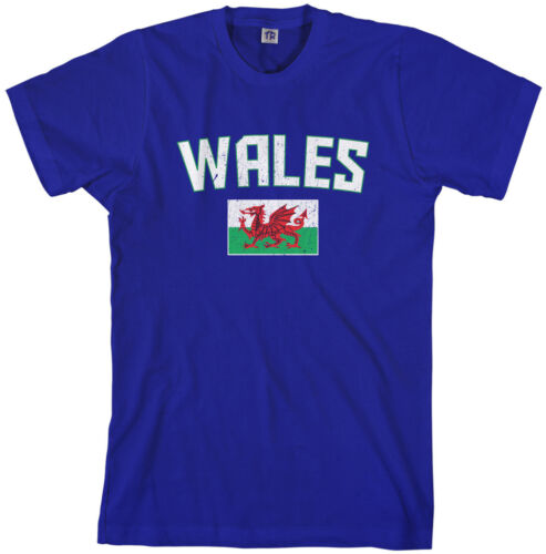 Threadrock Men/'s Wales Flag T-shirt United Kingdom Welsh Soccer